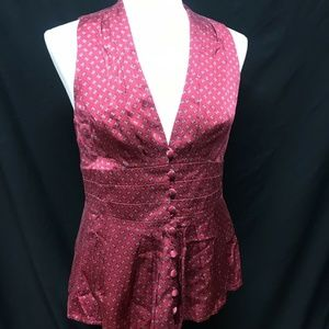 Nanette Lepore red 100% silk button up 10